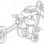 Outlined Santa on a motorcycle. Vector, illustration coloring page.